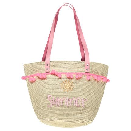 Ψάθινη τσάντα με κεντημένο μήνυμα και ροζ χερούλια