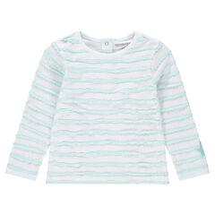 Μακρυμάνικη μπλούζα με ανάγλυφες ρίγες και μπάλωμα με αστεράκι