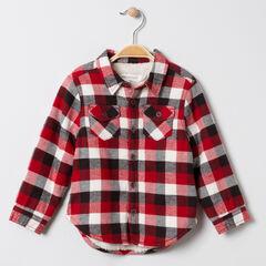 Chemise à carreaux en flanelle doublée sherpa à poches