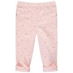 Παντελόνι από βελούδο κοτλέ με τυπωμένα χρυσαφί αστέρια