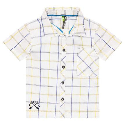 Κοντομάνικο καρό πουκάμισο με κεντημένο μοτίβο