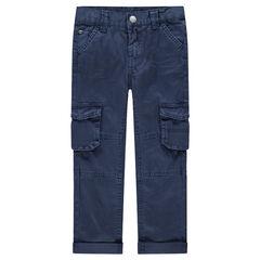 Βαμβακερό παντελόνι με νηματοβαφή και μεγάλες τσέπες με καπάκι