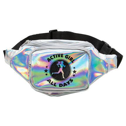 Τσάντα μέσης με ιριδίζουσα όψη και φαντεζί τύπωμα
