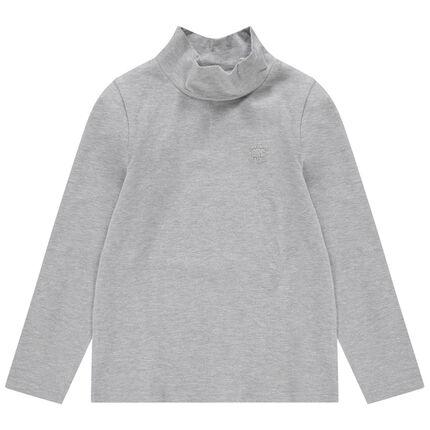 Junior - Sous-pull en jersey col cheminée avec logo printé