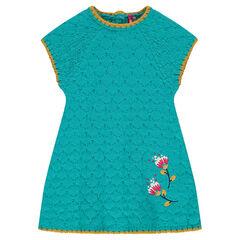 Πλεκτό φόρεμα με κεντημένα λουλούδια