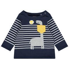 Κεντημένο ναυτικό μπλουζάκι  με μοτίβο δεινοσαύρων και τσέπη