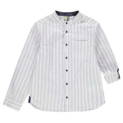 Παιδικά - Μακρυμάνικο πουκάμισο με γιακά μάο και κάθετες ρίγες