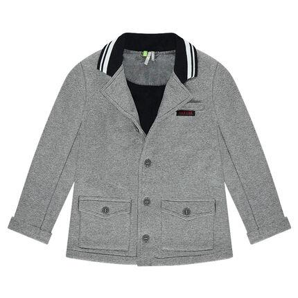 Φανελένιο σακάκι σε στιλ blazer με λαιμόκοψη με διακοσμητικό σχέδιο
