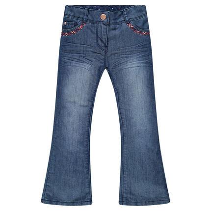 Junior - Jeans large avec broderies