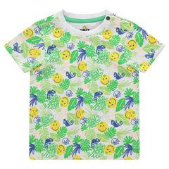 Κοντομάνικη μπλούζα από εξωτικό μοτίβο και στάμπα ©Smiley
