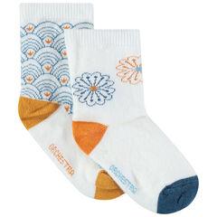 Σετ 2 ζευγάρια ασορτί κάλτσες με γεωμετρικά μοτίβα
