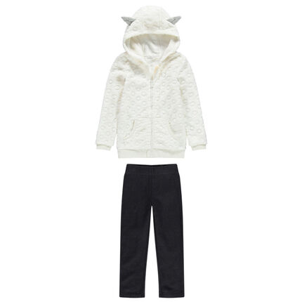 Jogging avec gilet à capuche en sherpa et pantalon doublé uni
