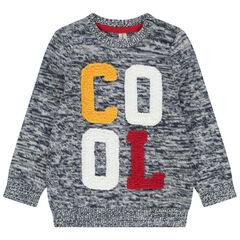 Πλεκτό μελανζέ πουλόβερ με μπουκλέ φράση