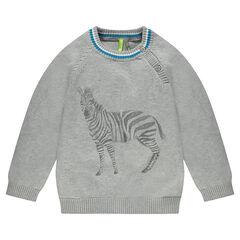 Πλεκτό πουλόβερ με τυπωμένες ζέβρες