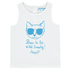 Αμάνικο μονόχρωμο μπλουζάκι με τύπωμα γάτα και μήνυμα