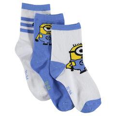 Σετ με 3 ζευγάρια ασορτί κάλτσες με σχέδιο Minions