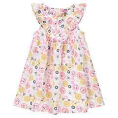 Κοντομάνικο φόρεμα με εμπριμέ μοτίβο και βολάν