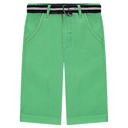 Πράσινη μονόχρωμη βερμούδα από τουίλ με ζώνη