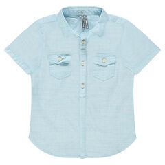 Παιδικά - Κοντομάνικο πουκάμισο σε διακοσμητική ύφανση