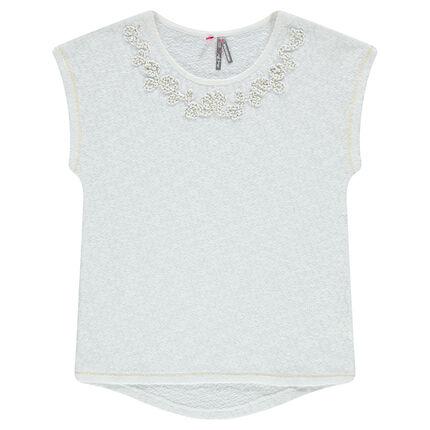 Παιδικά - Κοντομάνικη μπλούζα με κεντητό κορδόνι