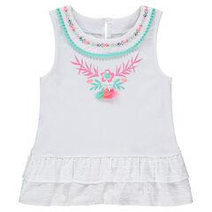 Αμάνικο μπλουζάκι με κεντήματα και βολάν με ανάγλυφα πουά