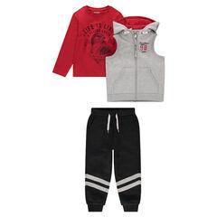 Φόρμα 3 τεμαχίων με μπλούζα με στάμπα, αμάνικη ζακέτα και παντελόνι με λωρίδες