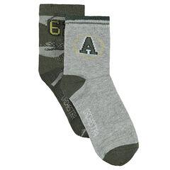 Σετ με 2 ζευγάρια ασορτί κάλτσες με ζακάρ μοτίβο