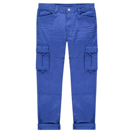Παιδικά - Μπλε παντελόνι σε στιλ cargo με τσέπες με καπάκι