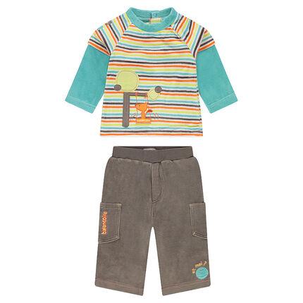Σύνολο με ριγέ μπλούζα 2 σε 1 και βελουτέ παντελόνι