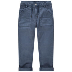 Μπλε παντελόνι νηματοβαφή με τσέπες και κορδόνια που σφίγγουν