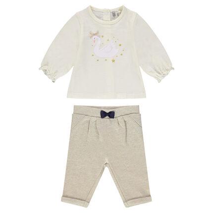 Σύνολο μπλούζα με τύπωμα και παντελόνι από φανέλα με φιόγκο