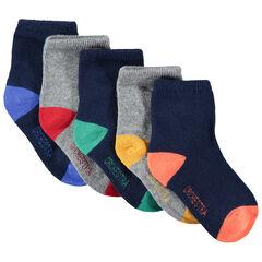 Σετ 5 ζευγάρια μονόχρωμες κάλτσες με φτέρνα και μύτη σε αντίθεση