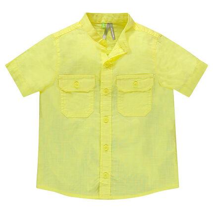Junior - Chemise manches courtes col mao