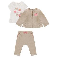 Σύνολο με 3 τεμάχια με μπλούζα με στάμπα, γιλέκο με φερμουάρ και φανελένιο παντελόνι