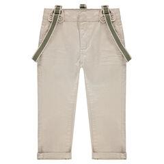 Μονόχρωμο παντελόνι από βαμβακερό σατέν με αφαιρούμενες τιράντες