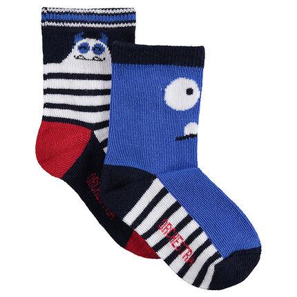 Σετ 2 ζευγάρια κάλτσες με ζακάρ τερατάκια