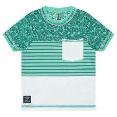 Κοντομάνικη μπλούζα με ρίγες και μοτίβο φύλλα
