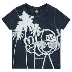 Tee-shirt manches courtes ©Smiley avec palmiers et  printés