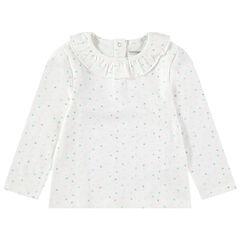 Μακρυμάνικη μπλούζα με βολάν στη λαιμόκοψη και πουά μοτίβο που κάνει αντίθεση