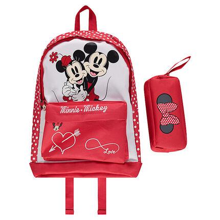 Τσάντα πλάτης και κασετίνα με τον Mickey και τη Minnie της ©Disney