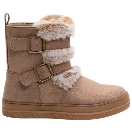 Χαμηλές μπότες με όψη σουέτ, αγκράφες και συνθετική γούνα