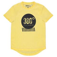 Παιδικά - Κοντομάνικη κίτρινη ζέρσεϊ μπλούζα νηματοβαφή με στάμπα