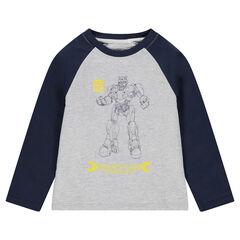 Δίχρωμη μακρυμάνικη μπλούζα από ζέρσεϊ με στάμπα ©Transformers