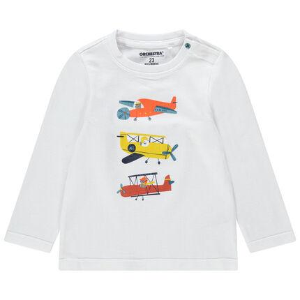Μακρυμάνικη μπλούζα με τυπωμένα αεροπλανάκια