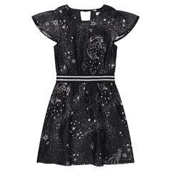 Φόρεμα με βολάν, μοτίβο αστέρια και λάστιχο με μεταλλιζέ ρίγες στη μέση