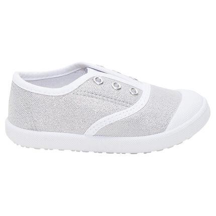 Πάνινα ασημί αθλητικά παπούτσια με λάστιχο, μεγέθη 24 έως 27