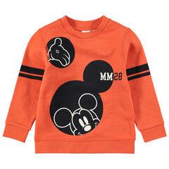 Πορτοκαλί φούτερ από φανέλα με στάμπα τον Μίκυ της Disney