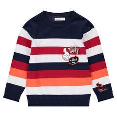 Πλεκτό ριγέ πουλόβερ με στάμπες και μπαλώματα