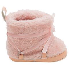 Χαμηλές μπότες από sherpa με γούνινη επένδυση και βελούδινα κορδόνια