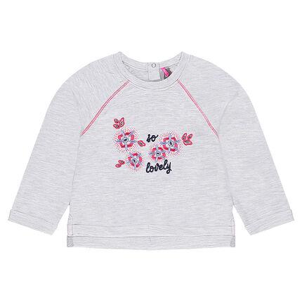 Φανελένια μπλούζα με κεντητά λουλούδια